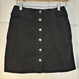 Black Corduroy Button Front Mini Skirt Pockets 6